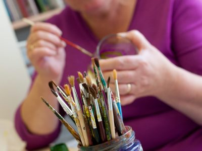 Painting art therapy at day hospice