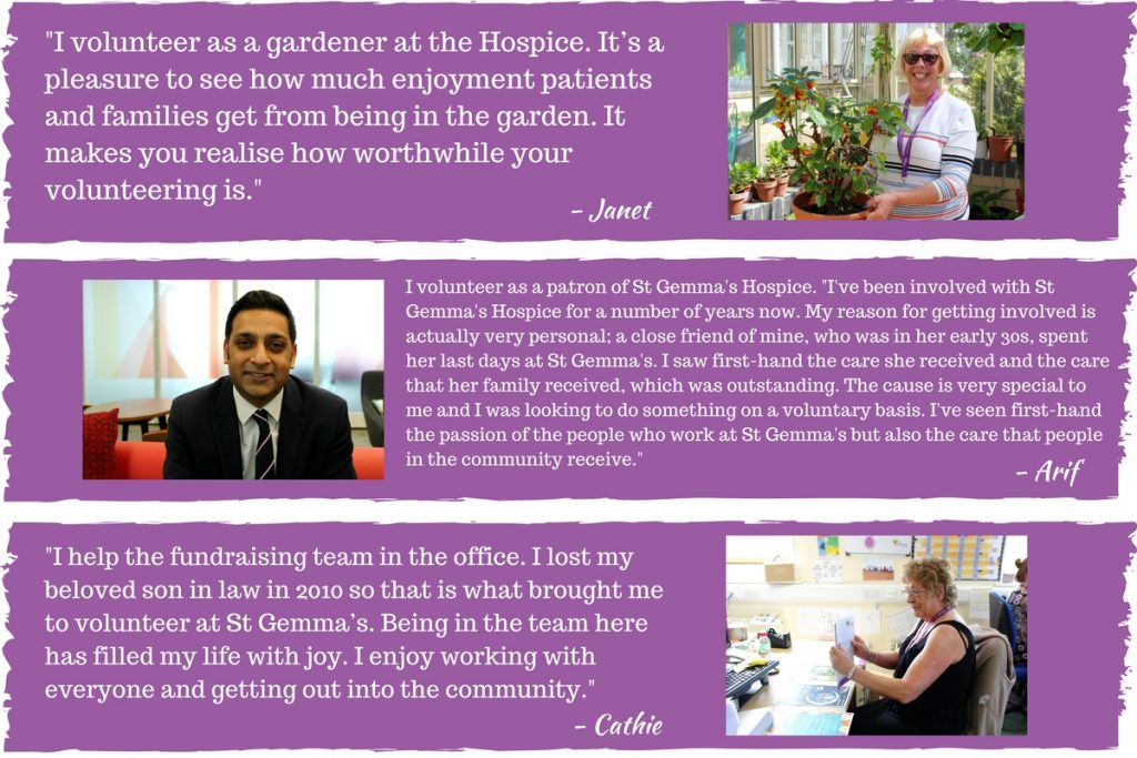 St Gemma's Hospice Volunteering Quotes