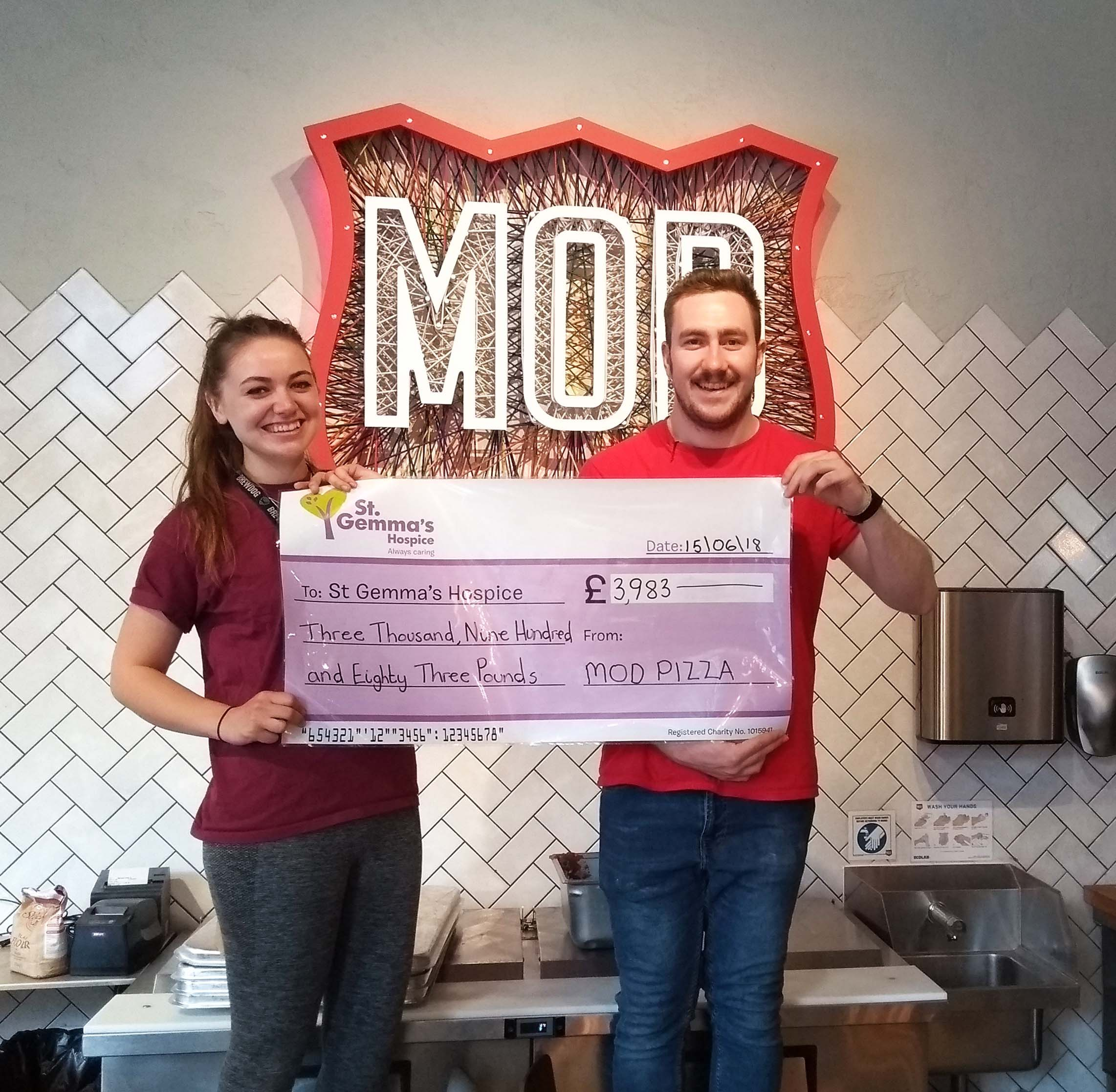 MOD Pizza Cheque Photo