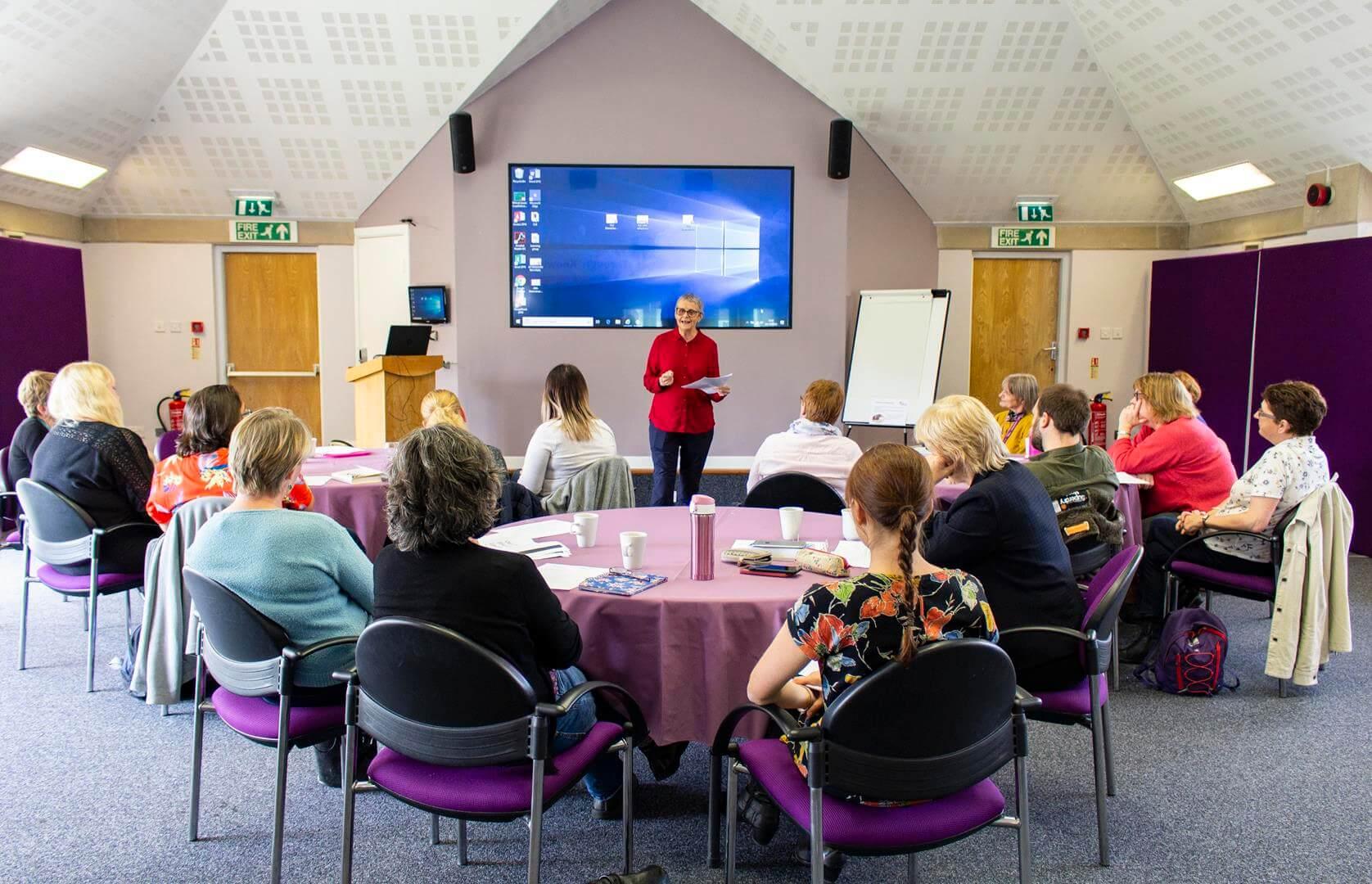 Wendy Mitchell speaking at St Gemma's Hospice