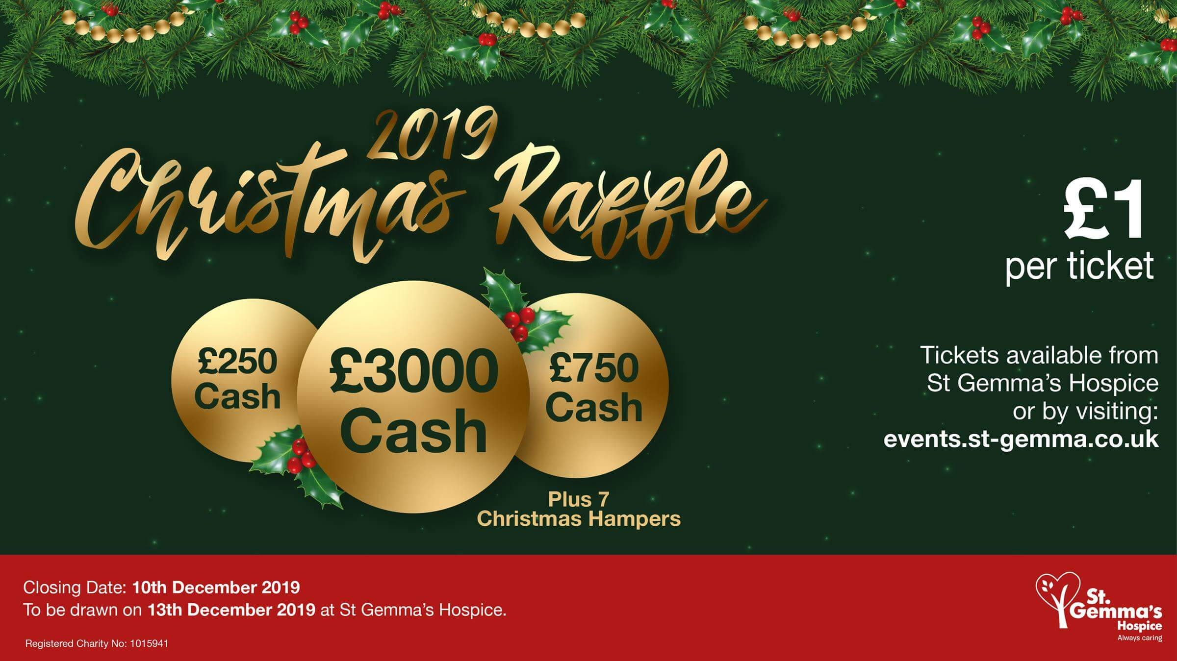 Graphic with 'Christmas Raffle' and baubles on