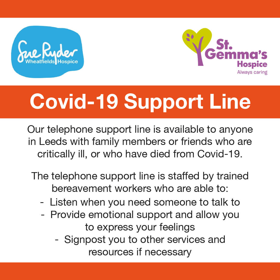 Covid-19 Support Line image with St Gemma's and Sue Ryder logos
