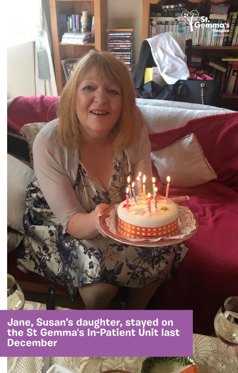 Jane holding a birthday cake