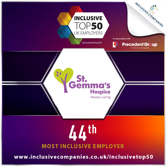 Inclusive Top 50 UK Employers logo - St Gemma's 44th