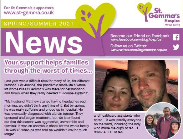 Cover of the spring/summer 2021 St Gemma's Hospice newsletter with title 'Your support helps families through the worst of times...'