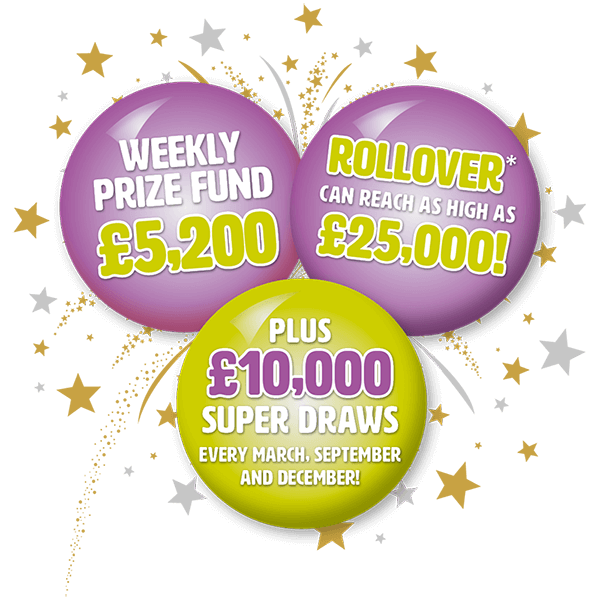 "Purple and green hospice lottery balls with text ""weekly prize fund £5200"""